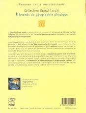 Elements de geographie physique - 4ème de couverture - Format classique