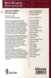 L'accord ADPIC : dix ans après ; regards croisés Europe -Amérique latine - 4ème de couverture - Format classique