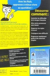 Le français correct pour les nuls - 4ème de couverture - Format classique