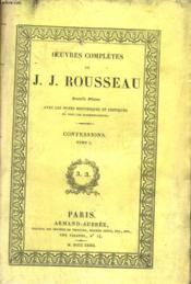 Les Confessions Tome Premier - Couverture - Format classique
