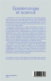 Épistemologie et science - 4ème de couverture - Format classique