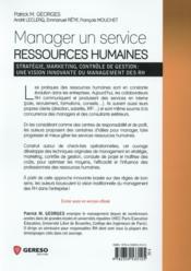 Manager un service ressources humaines (2e édition) - 4ème de couverture - Format classique