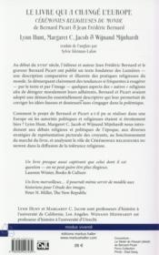 Le livre qui a change l'europe - ceremonies religieuses du monde de bernard picart et jean frederic - 4ème de couverture - Format classique