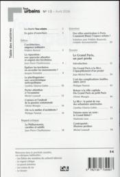 REVUE TOUS URBAINS N.13 ; le Grand Paris, un pari perdu - 4ème de couverture - Format classique