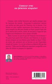 L'amour vrai au feminin singulier - theatre - 4ème de couverture - Format classique