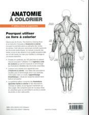 Anatomie à colorier (4e édition) - 4ème de couverture - Format classique