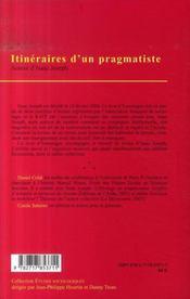 Itinéraires d'un pragmatiste - 4ème de couverture - Format classique
