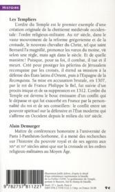 Les templiers ; une chevalerie chrétienne au Moyen Age - 4ème de couverture - Format classique