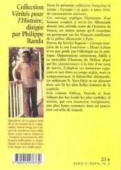 Paris gestapo - 4ème de couverture - Format classique