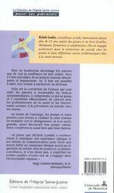 Aider A Prevenir Suicide Chez Jeunes - 4ème de couverture - Format classique