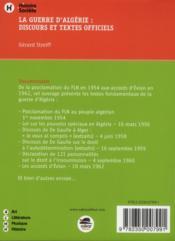La guerre d'Algérie : textes et discours - 4ème de couverture - Format classique