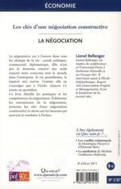La négociation (8e édition) - 4ème de couverture - Format classique