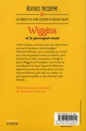 Wiggins et le perroquet muet - 4ème de couverture - Format classique