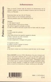 Arborescences ; Poemes Sur Le Vif - 4ème de couverture - Format classique