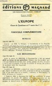 L'EUROPE, CLASSE DE 4e ET 3e ANNEE DES CC, FASCICULE COMPLEMENTAIRE - Couverture - Format classique