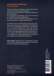 Introduction à la rhétorique ; théorie et pratique (2e édition) - 4ème de couverture - Format classique