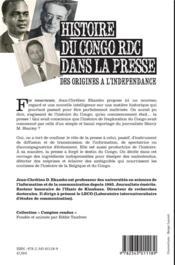 Histoire du Congo RDC dans la presse ; des origines à l'indépendance - 4ème de couverture - Format classique