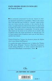 Faits Divers Pour Un Non-Lieu - 4ème de couverture - Format classique