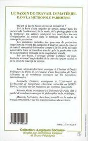 Le Bassin De Travail Immateriel Dans La Metropole Parisienne - 4ème de couverture - Format classique