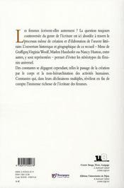 Création au féminin t.1 ; littérature - 4ème de couverture - Format classique