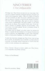 Nino Ferrer, C'Est Irreparable - 4ème de couverture - Format classique