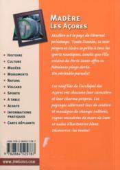 Madère ; les Açores - 4ème de couverture - Format classique