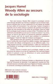 Woody Allen Au Secours De La Sociologie - 4ème de couverture - Format classique