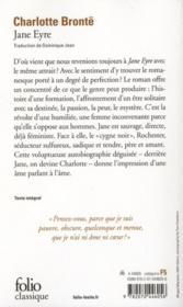 Jane Eyre - 4ème de couverture - Format classique