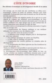 Côte d'Ivoire ; des réformes économiques au développement durable de la nation - 4ème de couverture - Format classique
