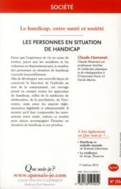 Les personnes en situation de handicap (7e. édition) - 4ème de couverture - Format classique