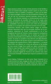 Droit des personnes, des familles et des majeurs protégés (6e édition) - 4ème de couverture - Format classique