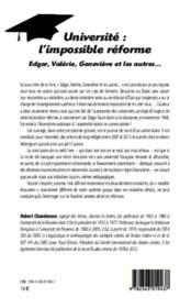 Université : l'impossible réforme : Edgar, Valérie, Geneviève et les autres - 4ème de couverture - Format classique