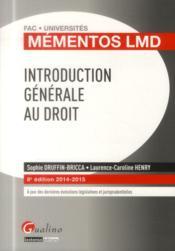 Introduction générale au droit ; 2014-2015 (8e édition) - Couverture - Format classique