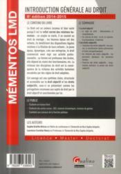 Introduction générale au droit ; 2014-2015 (8e édition) - 4ème de couverture - Format classique