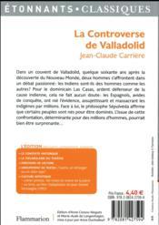 La controverse de Valladolid - 4ème de couverture - Format classique