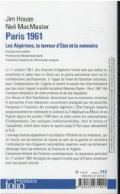 Paris 1961 : les Algériens, la terreur d'Etat, la mémoire - 4ème de couverture - Format classique