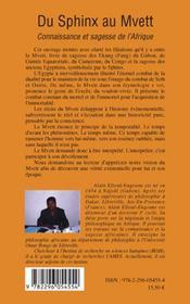 Du sphinx au mvett - connaissance et sagesse de l'afrique - 4ème de couverture - Format classique