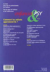 Enfances Et Psy N.24 ; Comment Les Enfants Apprennent-Ils ? - 4ème de couverture - Format classique