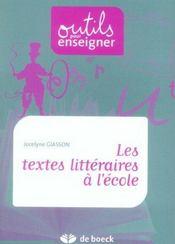 Les textes littéraires à l'école. - Intérieur - Format classique