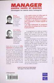 Manager Contre Vents Et Marees - 4ème de couverture - Format classique