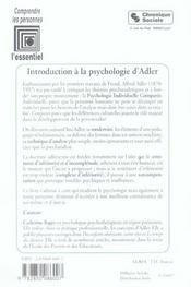 Introduction a la psychologie individuelle d'alfred adler inferiorite et volonte de puissance - 4ème de couverture - Format classique