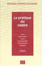 La pratique du salaire 2003 - Intérieur - Format classique