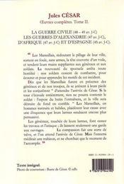 Oeuvres complètes t.2 ; guerre civile ; guerre d'Alexandrie, d'Afrique et d'Espagne - 4ème de couverture - Format classique