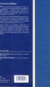 La Fonction Publique - 4ème de couverture - Format classique