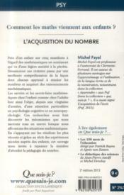 L'acquisition du nombre (2e édition) - 4ème de couverture - Format classique
