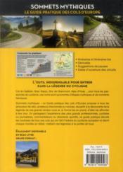 Sommets mythiques ; le guide pratique des cols d'Europe - 4ème de couverture - Format classique