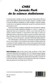 CNRS ; le jurassic park de la science stalinienne - 4ème de couverture - Format classique