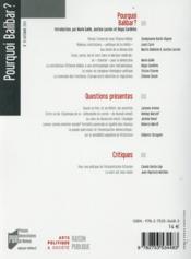 RAISON PUBLIQUE N.19 ; pourquoi Balibar ? - 4ème de couverture - Format classique