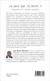 La paix par le droit ? attentes et enjeux actuels - 4ème de couverture - Format classique