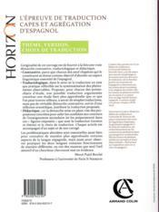 L'épreuve de traduction au Capes d'espagnol ; choix de traducion, faits de langue - 4ème de couverture - Format classique